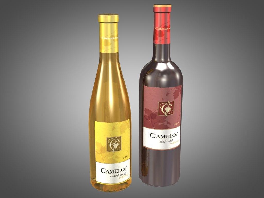 3d model bottles camelot wine