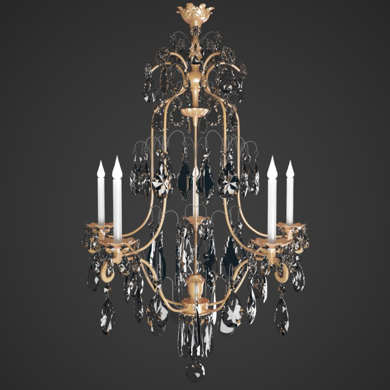 chandelier crystal classical 3d max