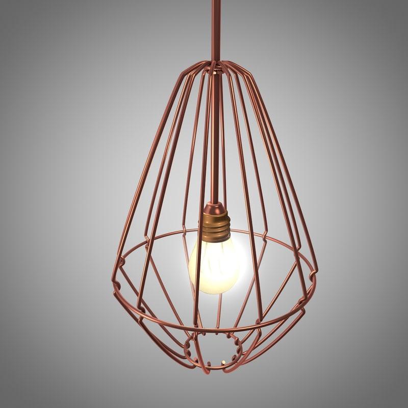 3d designer lamp copper wire model
