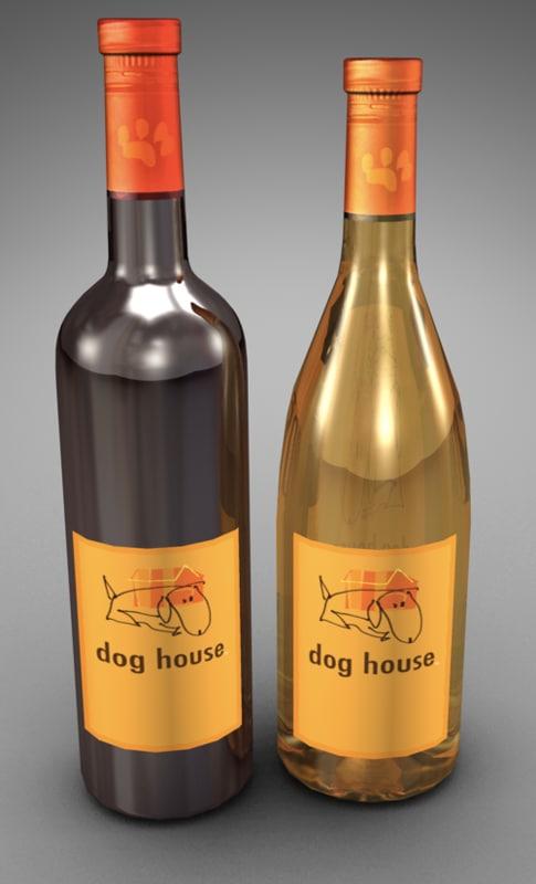 3d model bottles dog house wine