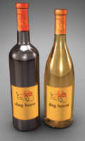 3d model bottles dog house wine