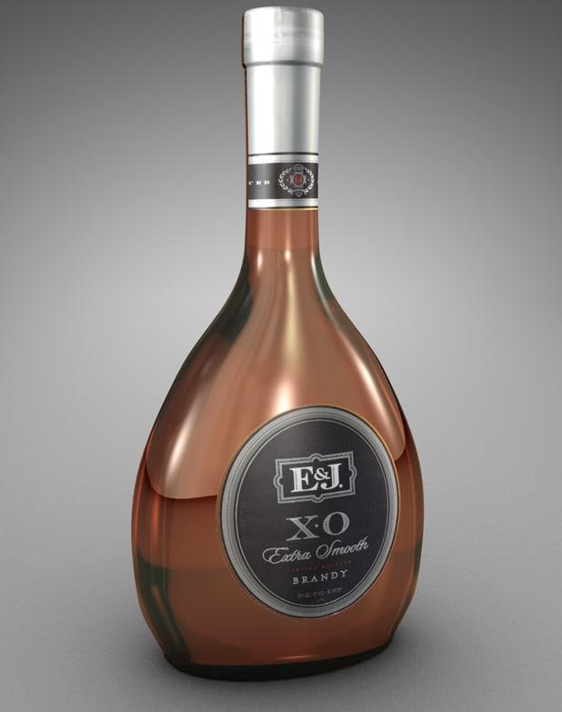 bottle e j brandy 3d 3ds