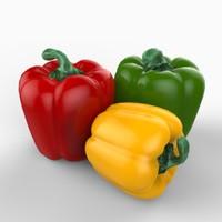 realistic bell pepper 3d lwo