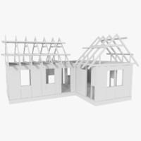 timber frame building construction 3d obj