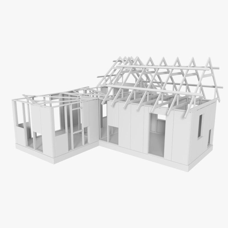 3d model timber frame building construction