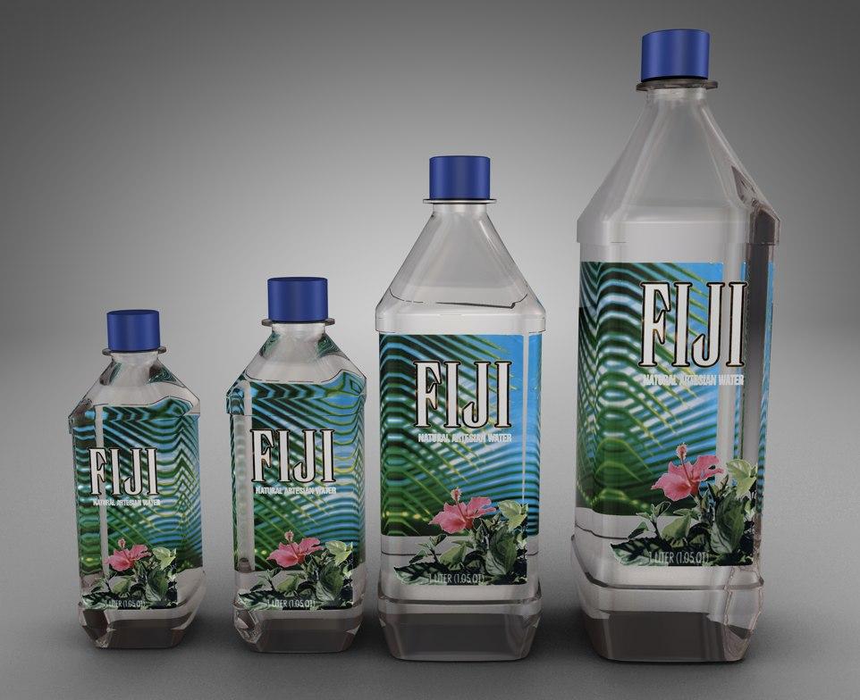 3d bottles fiji water model