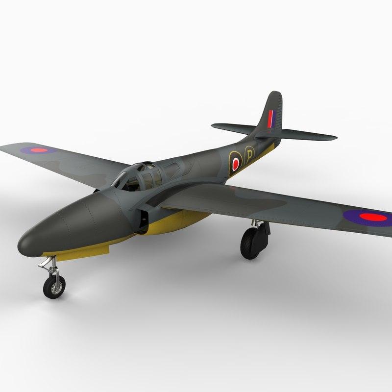 xp-59a jet air fighter 3d model