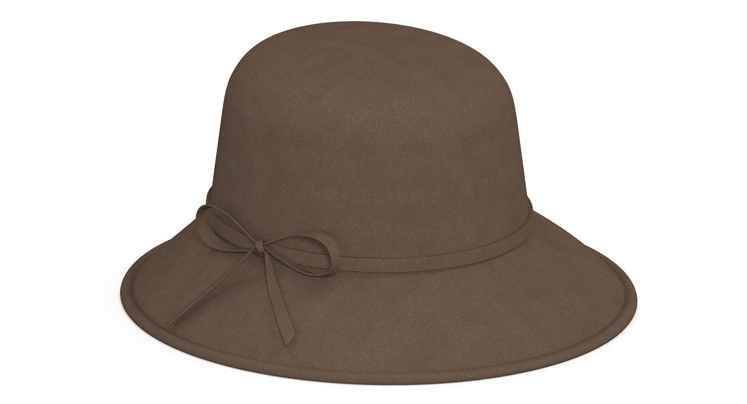 3d model brown hat women