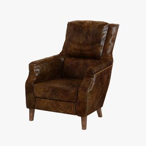 3d model chair man classic distressed