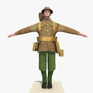 ww1 british soldier version 3d model