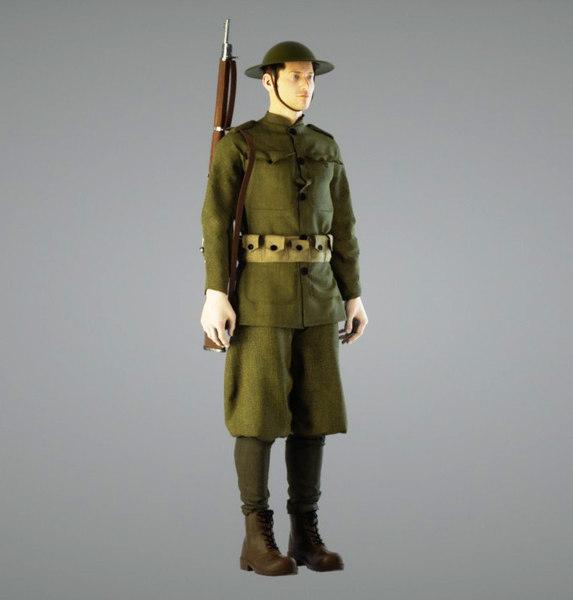 british soldier ww1 3d model