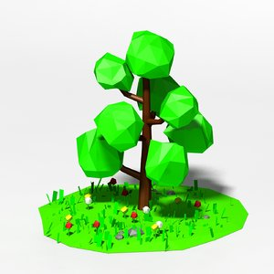 cartoon tree scene 3d model
