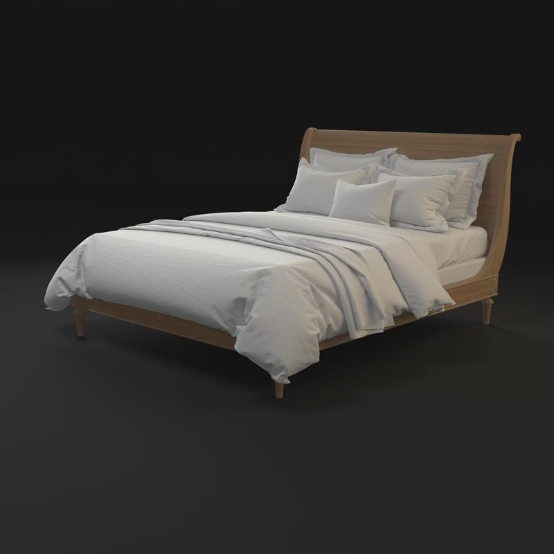 3d model classic empire bed r