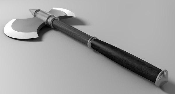 medieval half moon axe 3d c4d