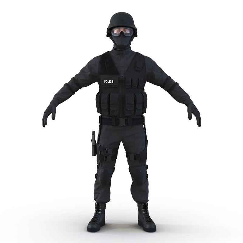 3d model swat man mediterranean