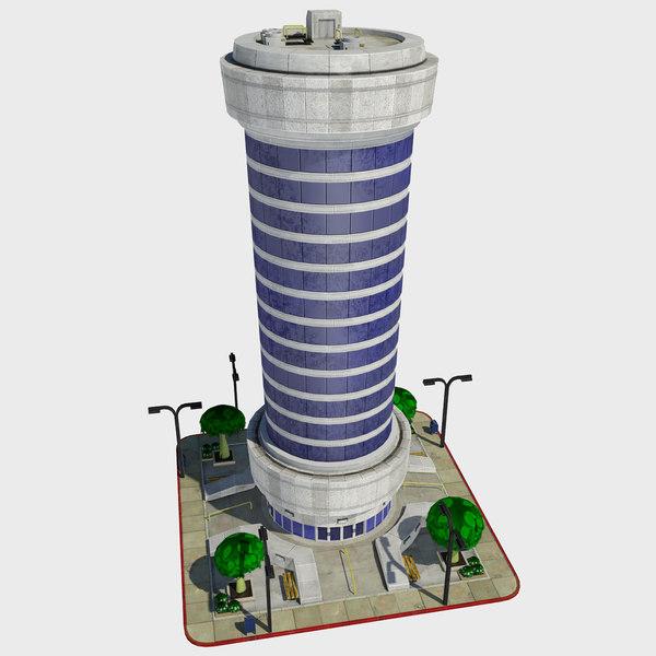 - cartoon building tile 3d model