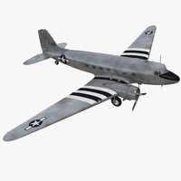 douglas dc-3 air force 3d model