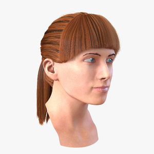 female caucasian head rigged 3d max