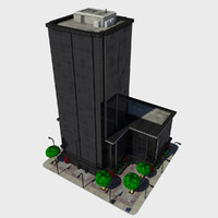 Cartoon Low Poly City Building Tile 4 - Tall Skyscraper Office Commercial
