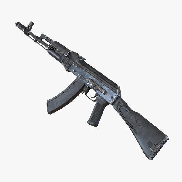3d assault rifle ak 74m model