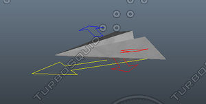 3d paper plane rigged model