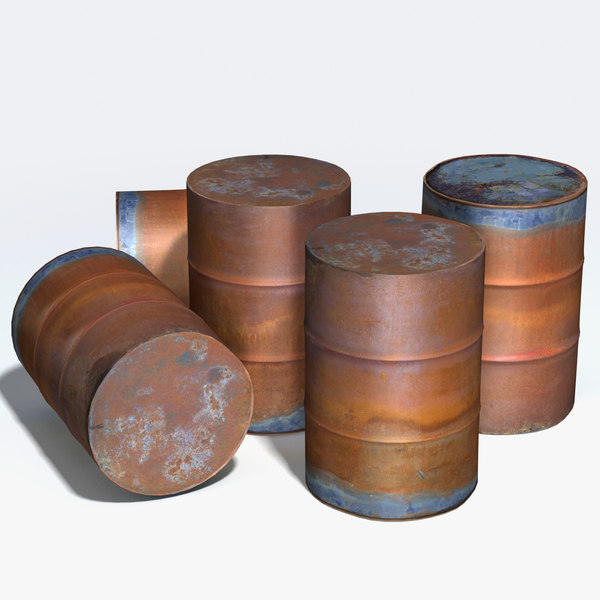 3d model rusty storage drum