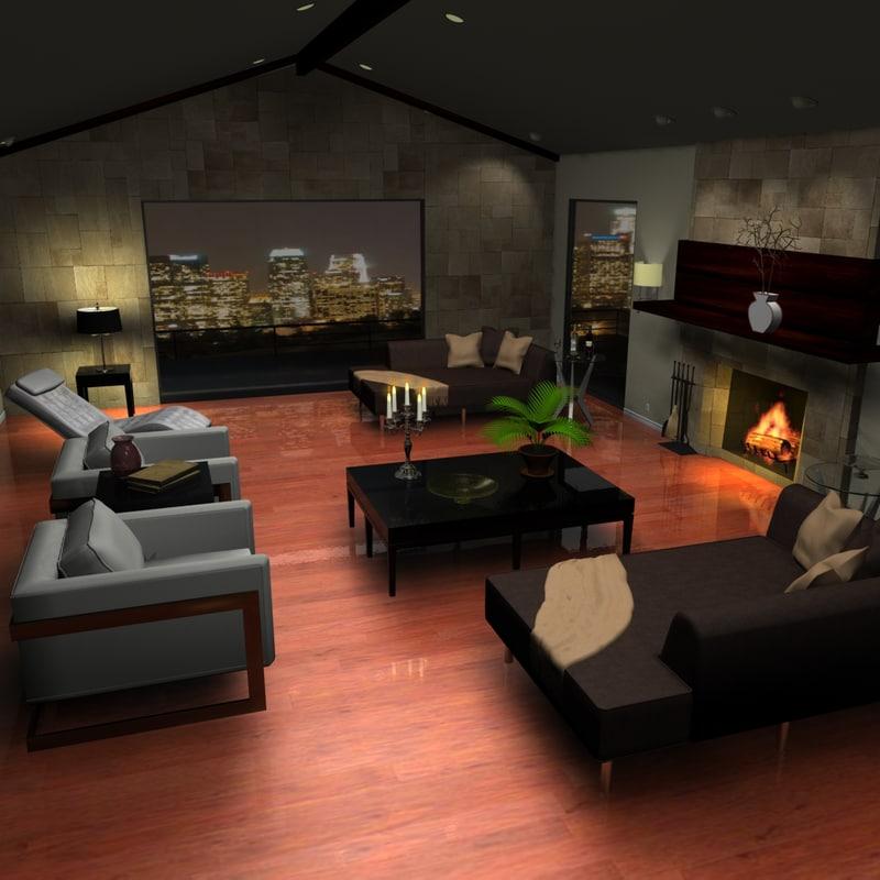 3d model of contemporary living room scene