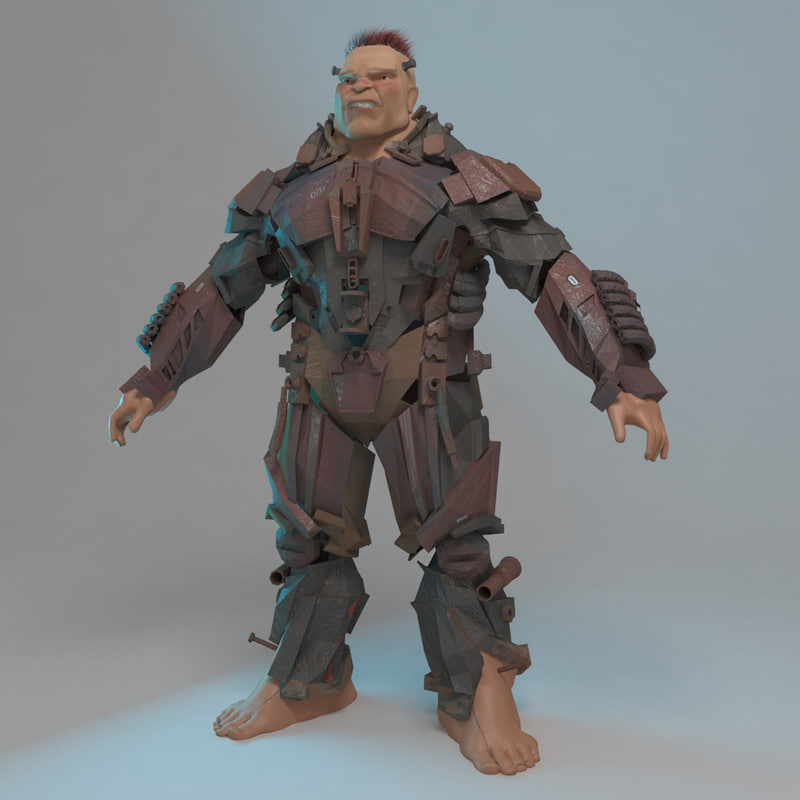 3d rigged cyborg robot model