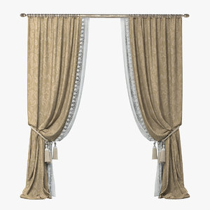 3d classicl style curtains model