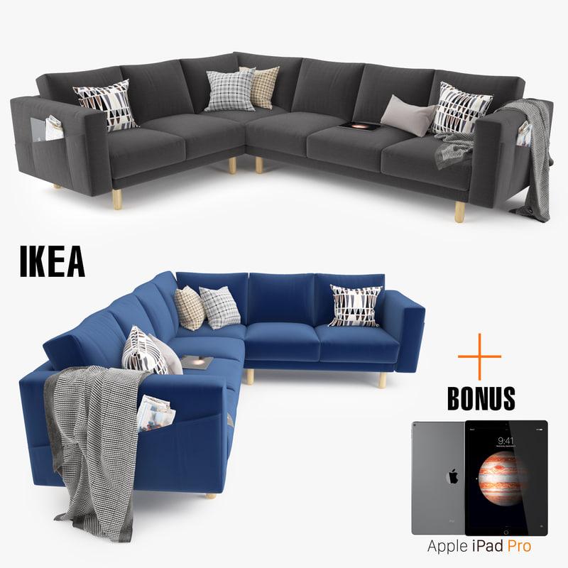 3d ikea morsborg corner sectional sofa model