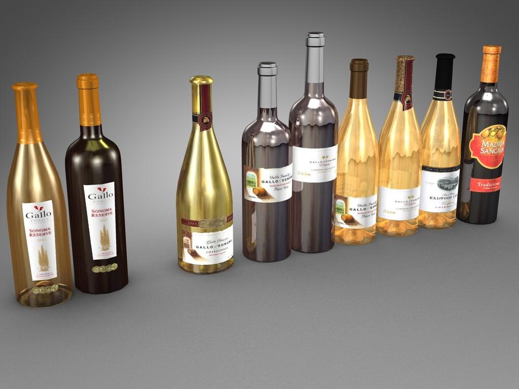 bottles 750 ml gallo 3d model