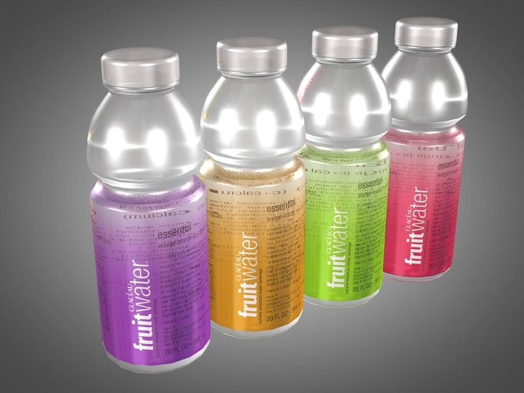 3d model bottles fruit water