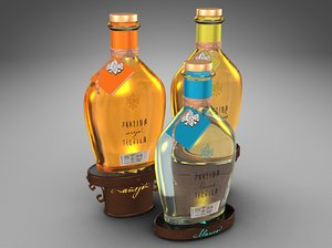 3d model of bottles partida tequila