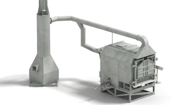 3d model metal melting furnace