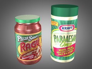 3d pizza sauce parmesan cheese