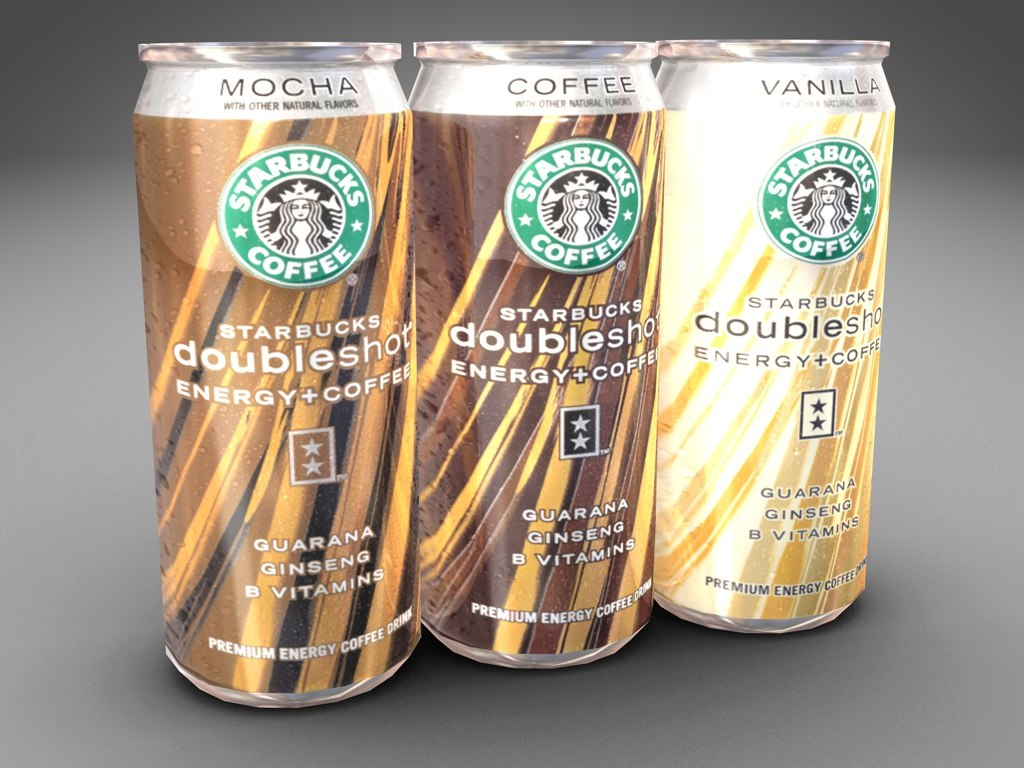 3d model of cans starbucks doubleshot