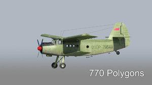 3d model transport aircraft an-2