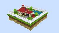 3d model scene house