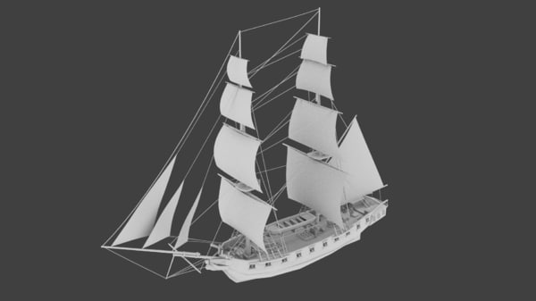 russian brig mercury 3d model