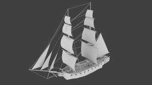 russian brig mercury 3d model