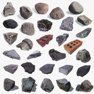 3d model pack stones debris