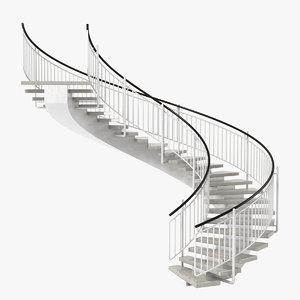 3d model circular staircase