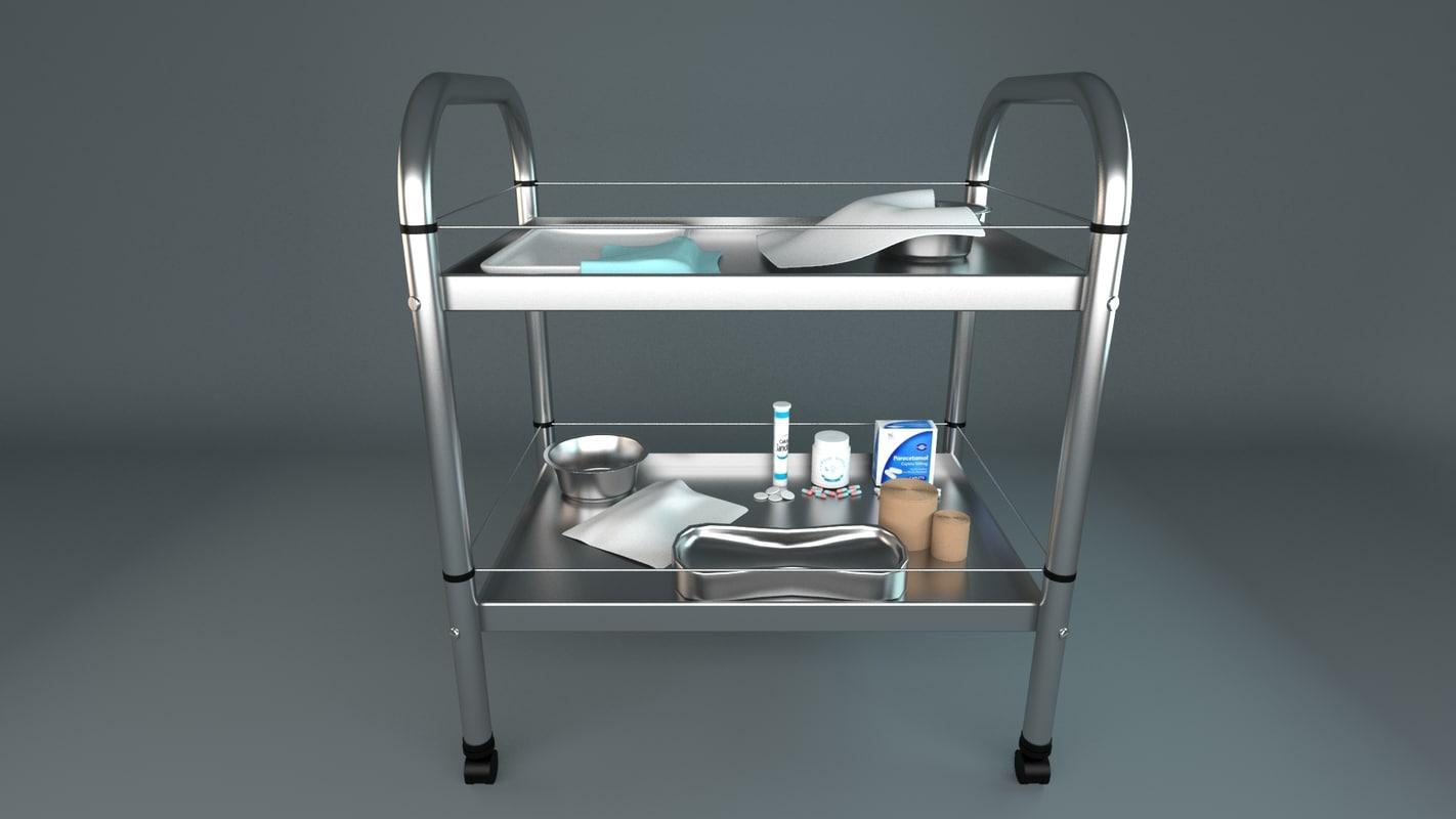 3d medical equipment trolley model