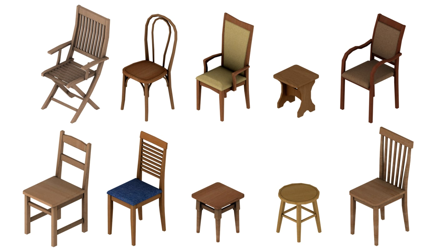 wood chairs pack 3d 3ds