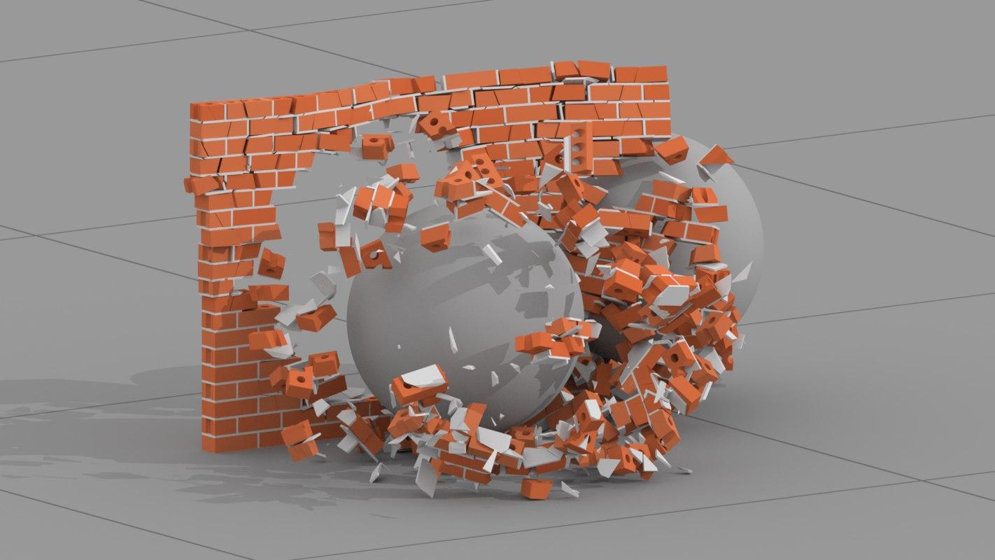 3d houdini asset destroy bricks model