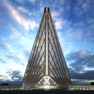 3d russia tower moscow scyscraper model