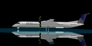 united airlines dash 8-400 3d model