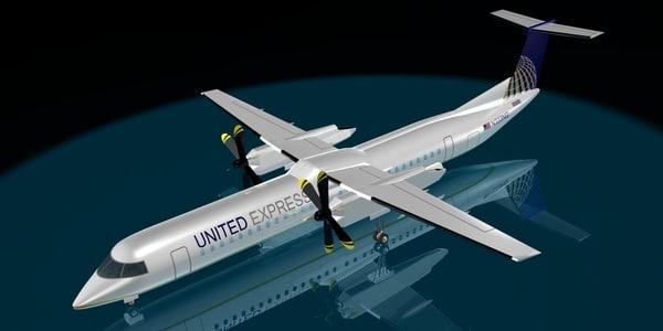 united airlines dash 8-400 3d model
