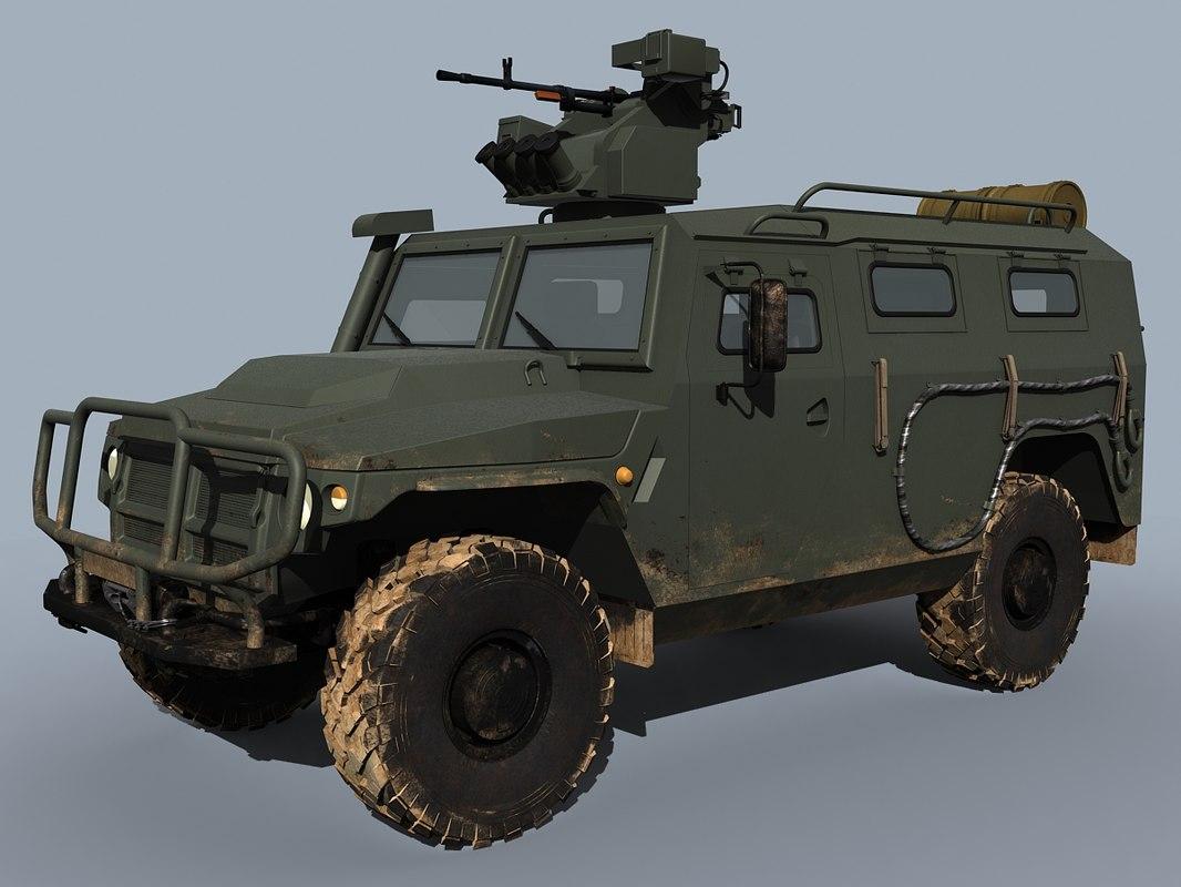 russian military vpk-233114 tigr-m 3d model