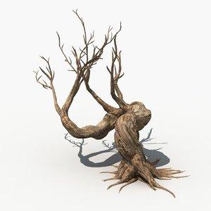 3d scary tree dry